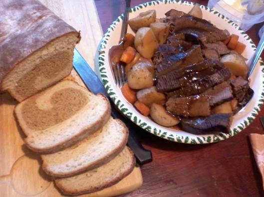 Flat Brisket in Pumpkin Stout. Two toned yeast bread